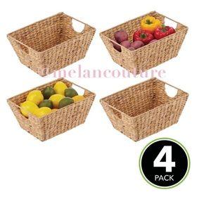 Woven Stackable Kitchen Storage Organizer Baskets